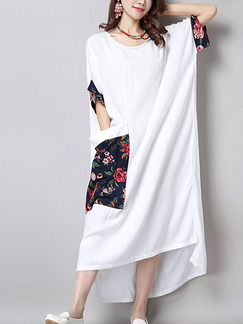 White Shift Maxi Dress for Casual