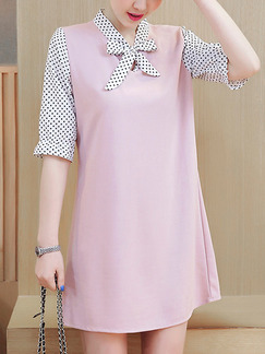 Pink Black and White Polkadot Shift Above Knee Plus Size Cute Dress for Casual Office Evening Party