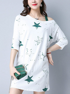White and Green Shift Above Knee One Shoulder Petite Dress for Casual Party