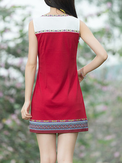 Red Colorful Sheath Above Knee Plus Size Dress for Casual Party