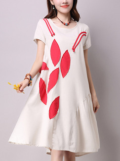 Cream and Red Shift Knee Length Plus Size Dress for Casual Party