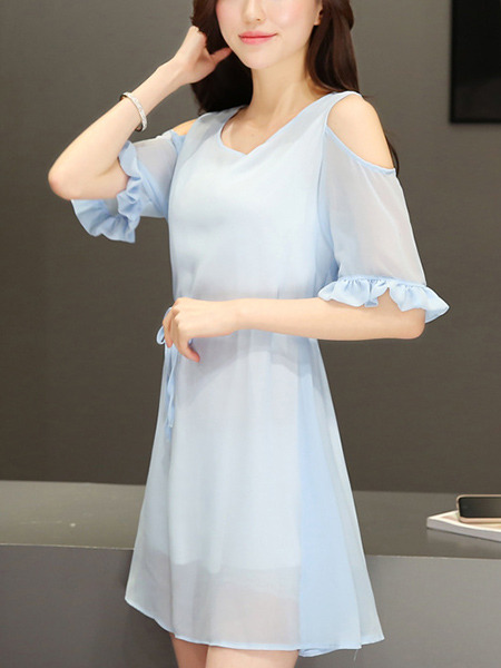 Blue Fit & Flare Above Knee Plus Size Dress for Casual Party