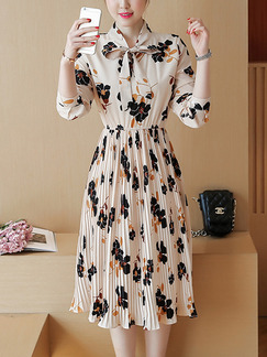 Beige Colorful Fit & Flare Knee Length Plus Size Long Sleeve Dress for Casual Party Evening