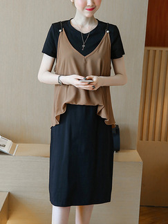 Black and Brown Shift Knee Length Plus Size Dress for Casual Office Evening