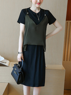 Black and Green Shift Knee Length Plus Size Dress for Casual Office Evening