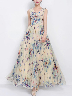 Cream Colorful Fit & Flare Maxi Plus Size Floral Cute Dress for Casual Party