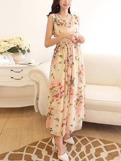 Beige Pink Colorful Fit & Flare Maxi Plus Size Floral Cute Dress for Casual Party