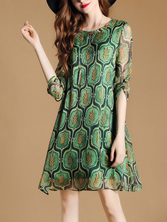 Green Shift Above Knee Plus Size Dress for Casual Party Evening