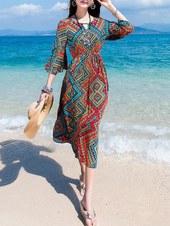 Colorful Midi Dress for Casual Beach