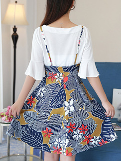 Blue and White Colorful Two Piece Fit & Flare Above Knee Plus Size Dress for Casual Party Evening