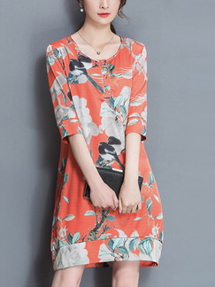 Orange Colorful Knee Length Plus Size Floral Dress for Casual Party Evening Office