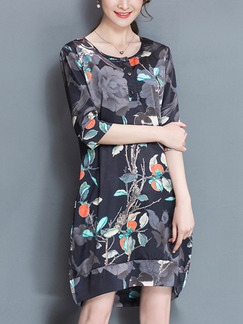 Black Colorful Knee Length Plus Size Floral Dress for Casual Party Evening Office