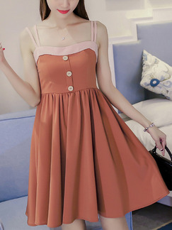 Brown and Pink Fit & Flare Above Knee Plus Size Slip Dress for Casual Party