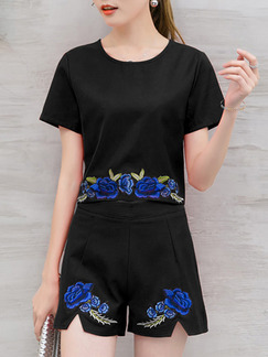 Black and Blue Two Piece Shirt Shorts Plus Size Floral Jumpsuit for Casual