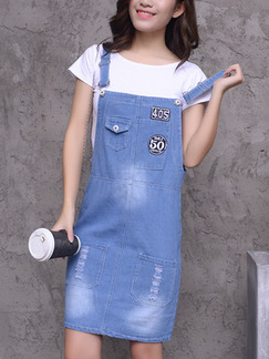 Blue Shift Above Knee Plus Size Denim Slip Dress for Casual Party