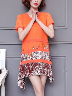 Orange Red and White Shift Above Knee Plus Size Dress for Casual Party Evening