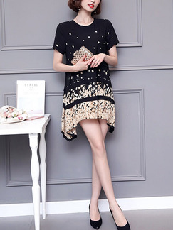 Black and Golden Shift Above Knee Plus Size Dress for Casual Party Evening