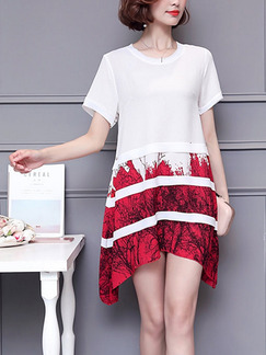 White and Red Shift Above Knee Plus Size Dress for Casual Party Evening