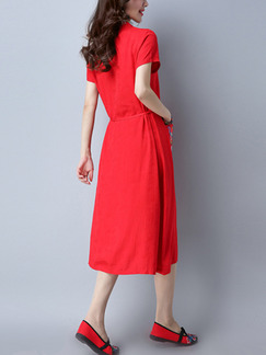 Red Shift Midi Plus Size Dress for Casual Party