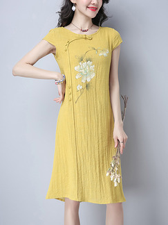 Yellow Shift Knee Length Plus Size Cute Dress for Casual