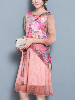 Pink Colorful Shift Knee Length Plus Size Cute Floral Dress for Casual Party Evening