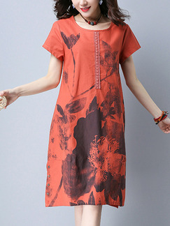 Red Shift Knee Length Plus Size Floral Dress for Casual Party Office