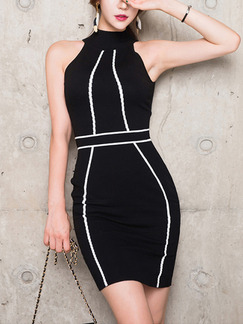 Black Bodycon Above Knee Halter Dress for Cocktail Party Evening