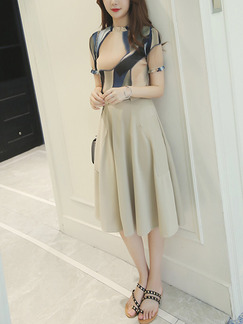 Beige Two Piece Fit & Flare Knee Length Plus Size Dress for Casual Office Evening