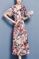Pink Colorful Fit & Flare Midi Plus Size V Neck Floral Dress for Casual Evening Office