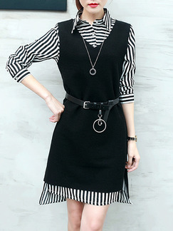 Black and White Two Piece Shift Above Knee Plus Size Dress for Casual Evening Office
