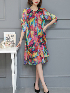 Colorful Shift Knee Length Plus Size Dress for Casual Party Evening