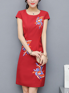 Red Sheath Above Knee Plus Size Dress for Casual Office Evening