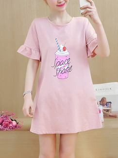 Pink Shift Above Knee Plus Size Dress for Casual Party