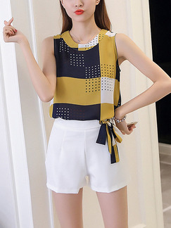 White Yellow and Blue Two Piece Shirt Shorts Plus Size Jumpsuit for Casual Party Evening
