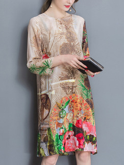 Brown Colorful Shift Knee Length Plus Size Floral Dress for Casual Party Evening