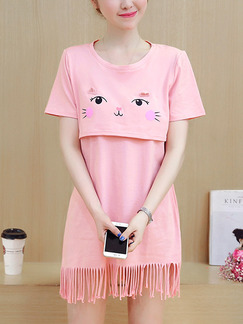 Pink Shift Above Knee Plus Size Cute Dress for Casual