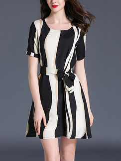 Black and White Shift Above Knee Plus Size Dress for Casual Party Evening Office
