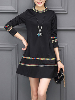 Black Shift Above Knee Plus Size Long Sleeve Dress for Casual Evening Party