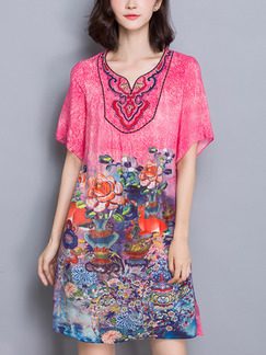 Pink Colorful Shift Above Knee Plus Size Cute Dress for Casual Party