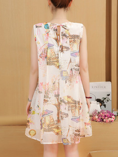 Beige Colorful Shift Above Knee Plus Size Dress for Casual