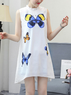 White and Blue Shift Above Knee Plus Size Dress for Casual Party