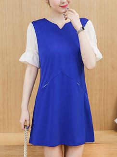 Blue and White Shift Above Knee Plus Size Dress for Casual Party Evening