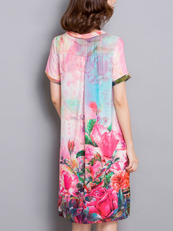 Pink Colorful Shift Knee Length Plus Size V Neck Floral Cute Dress for Casual Party Evening