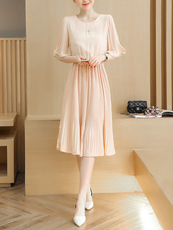 Beige Fit & Flare Midi Plus Size Dress for Casual Party Evening Office