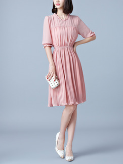 Pink Fit & Flare Knee Length Plus Size Cute Dress for Casual Evening Party Office