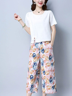 White and Pink Colorful Two Piece Shirt Pants Plus Size Cute Jumpsuit for Casual Party