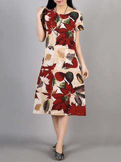 Apricot and Red Shift Knee Length Plus Size Floral Dress for Casual Party