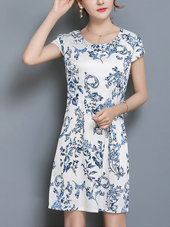 White and Blue Shift Above Knee Plus Size Dress for Casual Evening Party