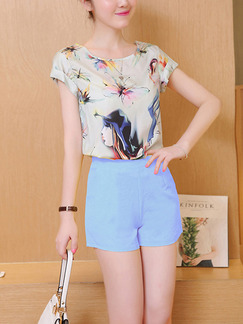Blue Beige Colorful Two Piece Shirt Shorts Plus Size Jumpsuit for Casual Party