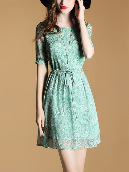 Green Fit & Flare Above Knee Plus Size Floral Dress for Casual Office Evening Party